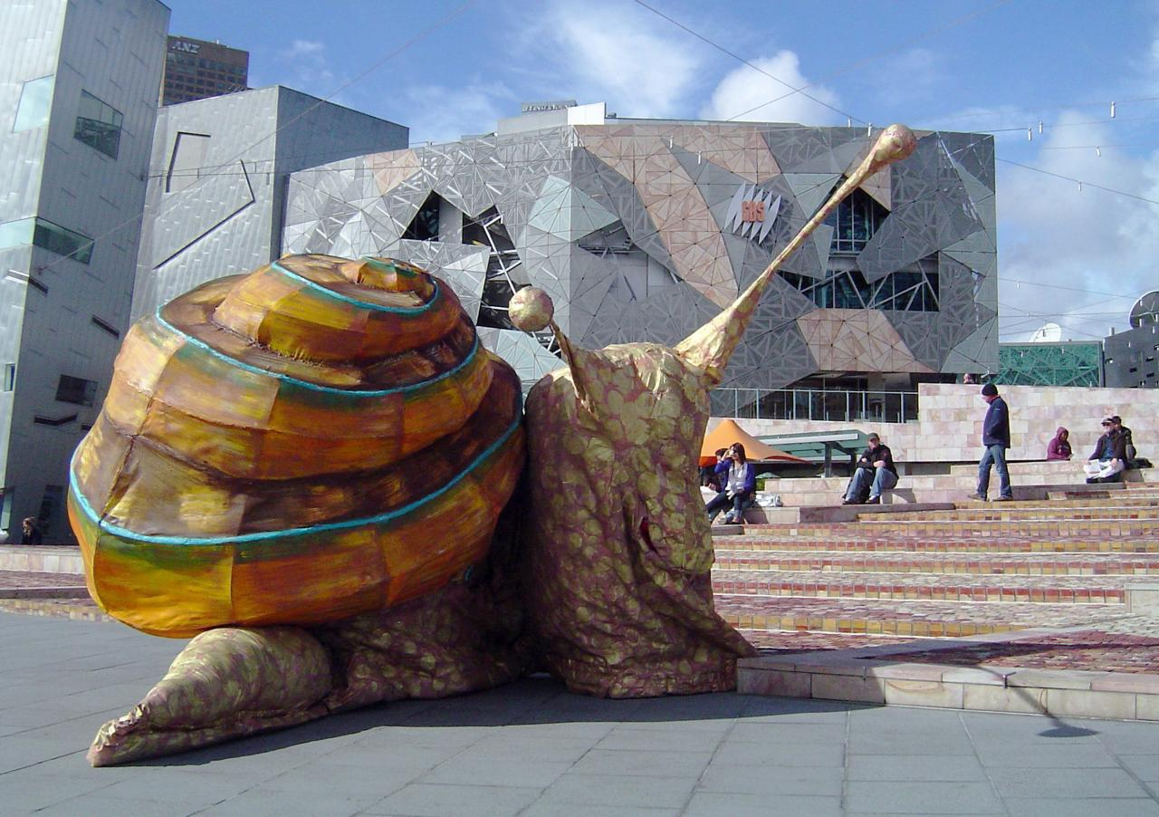 Snail by Snuff Puppets at Federation Square, 2009