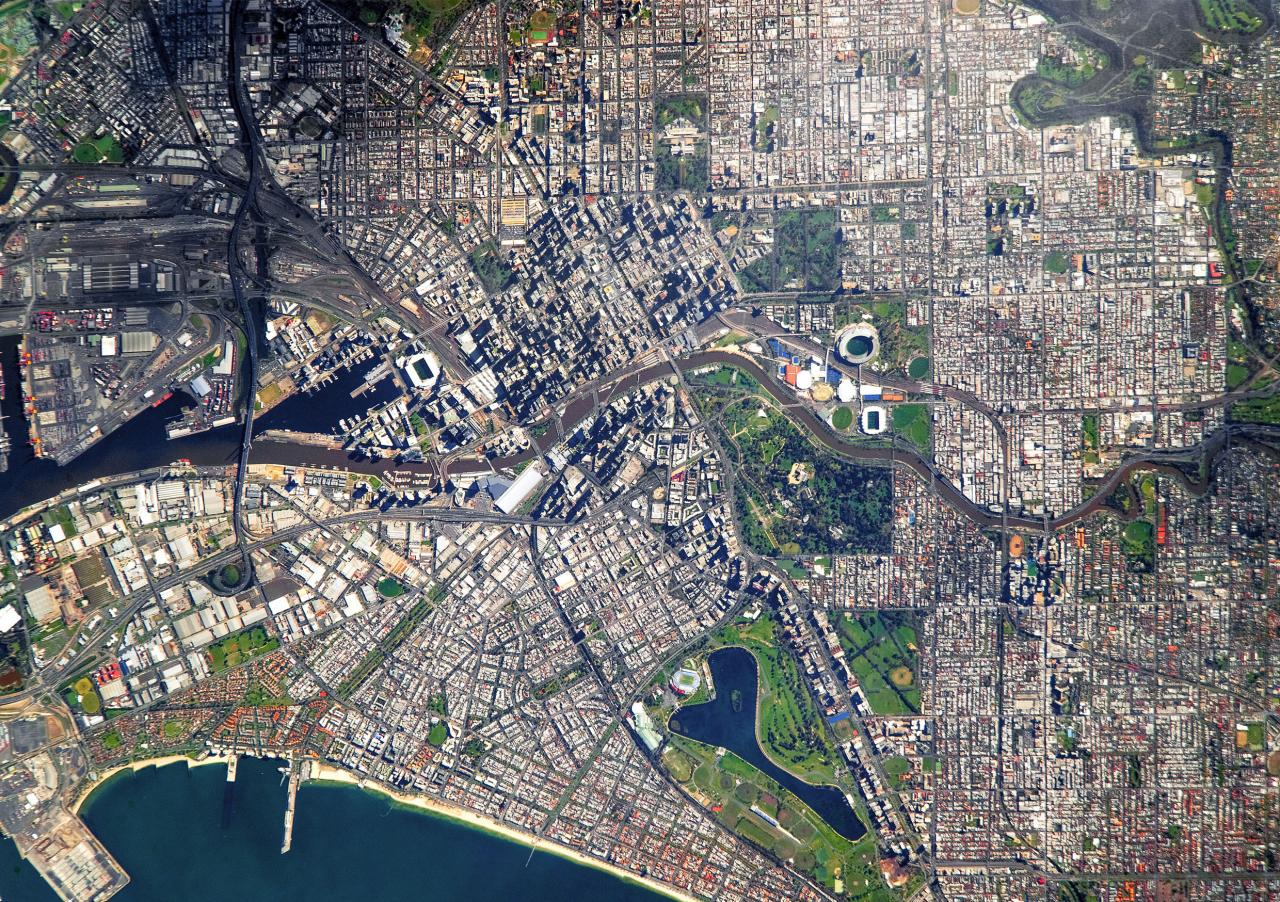 Satellite image of Melbourne