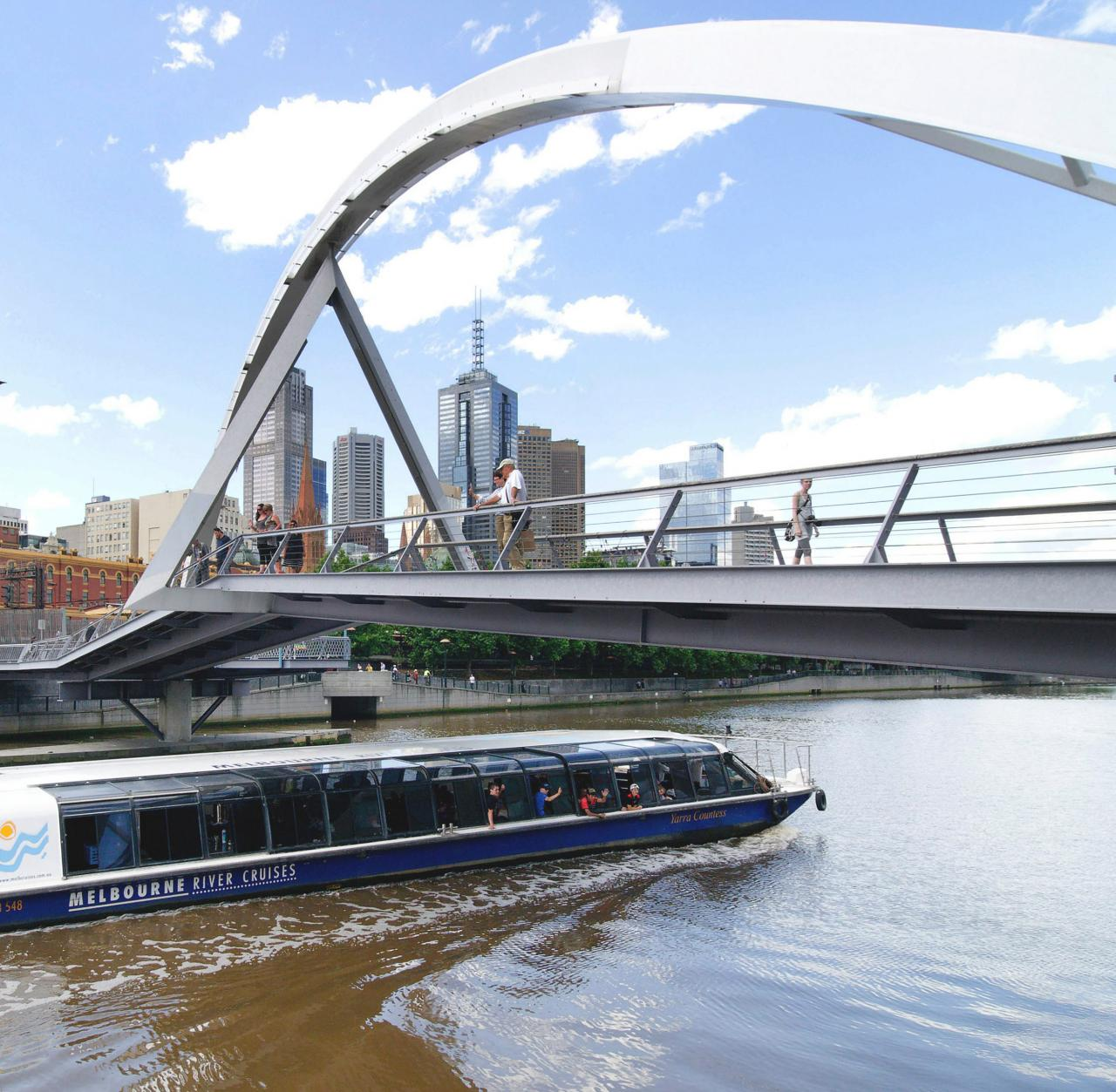 Melbourne River Cruises, passing under the Evan Walker Bridge Image courtesy of Melbourne River Cruises