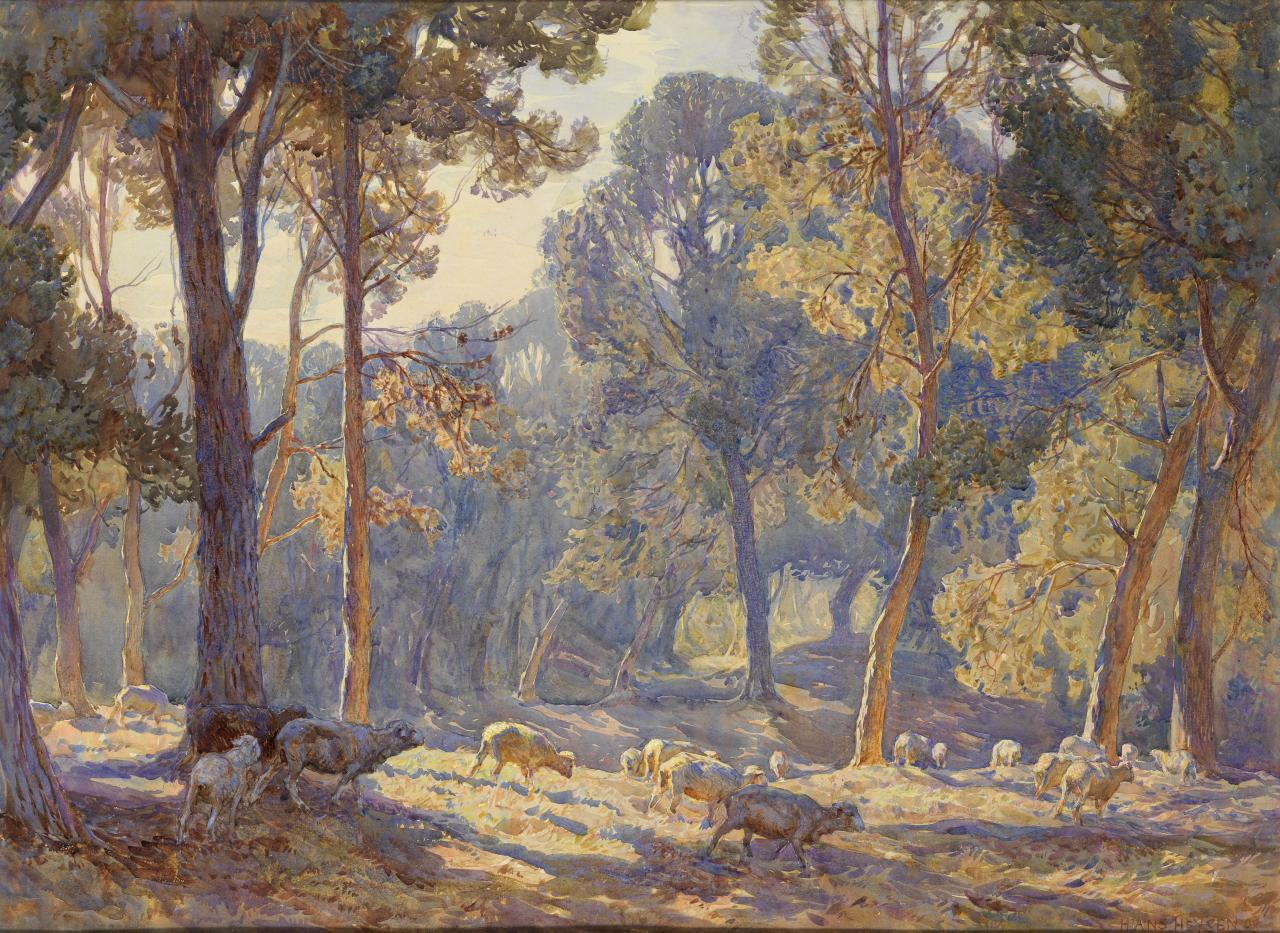 Curator s perspective hans heysen watercolours gums and for Australian mural artists