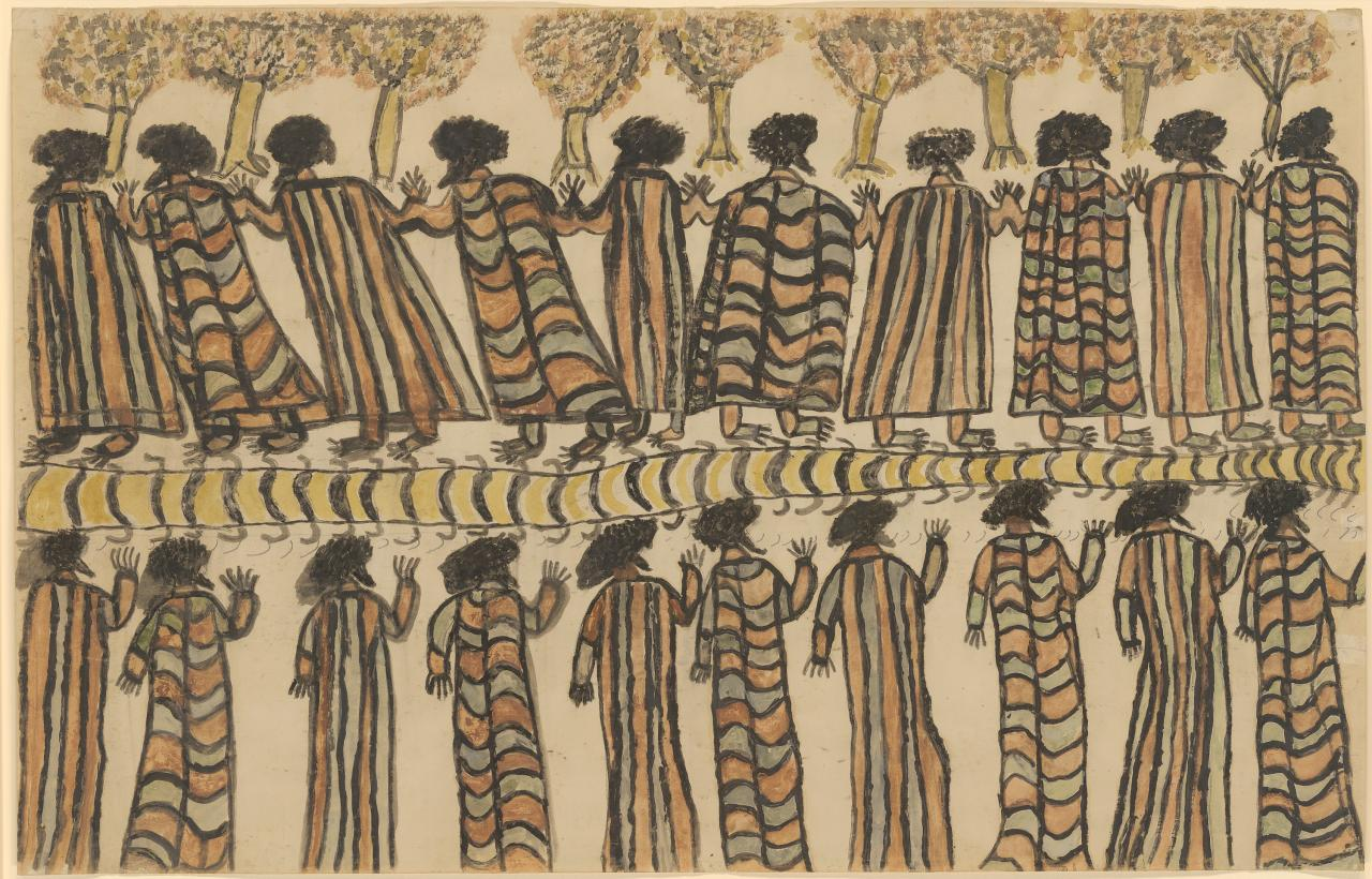 William Barak Figures in possum skin cloaks 1898