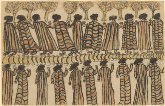William Barak~Wurundjeri Figures in possum skin cloaks 1898