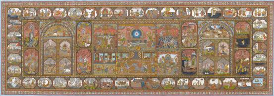 Niranjan MAHARANA Patachitra depicting scenes from the life of Krishna (c. 2004)