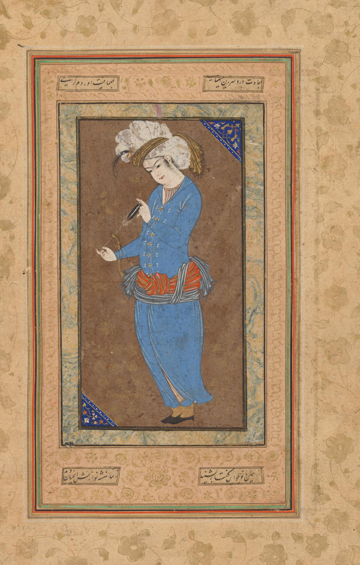 PERSIAN Portrait of a prince examining an arrow (late 16th century-early 17th century)