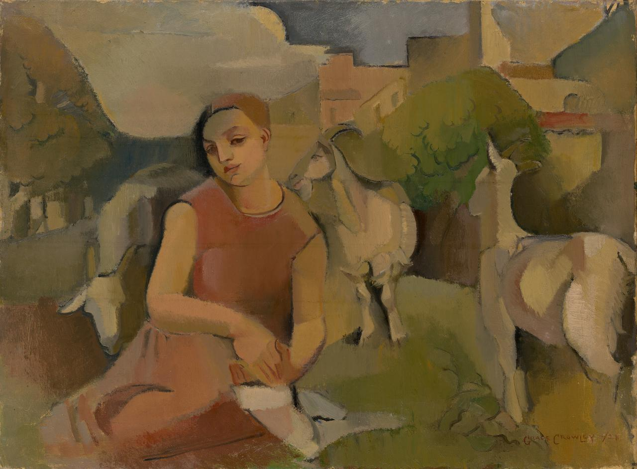 Grace CROWLEY Girl with goats 1928