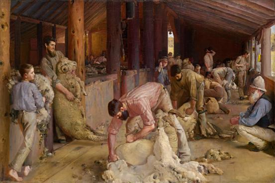Tom ROBERTS Shearing the rams 1890