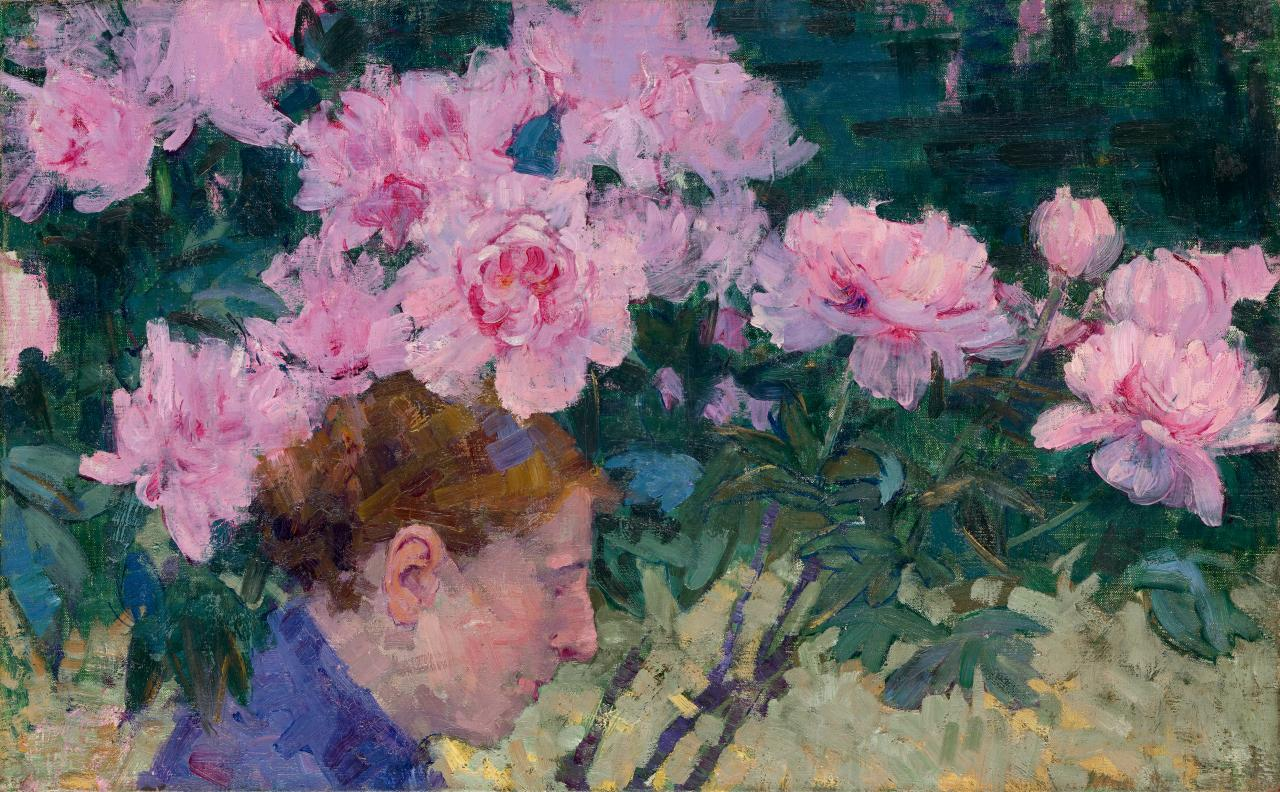 John RUSSELL Peonies and head of a woman (c. 1887)