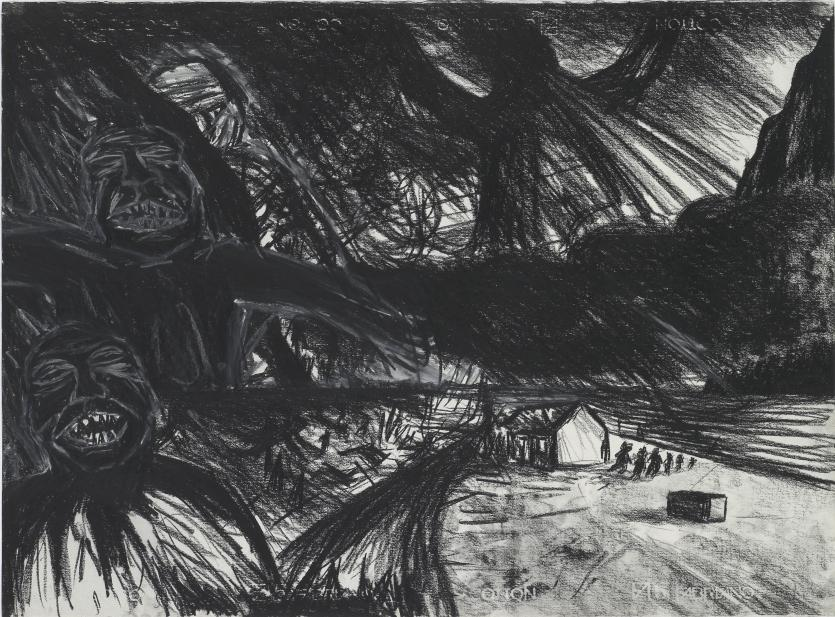 Exhibition Booth En Francais : Drawing black landscape with spectres peter booth