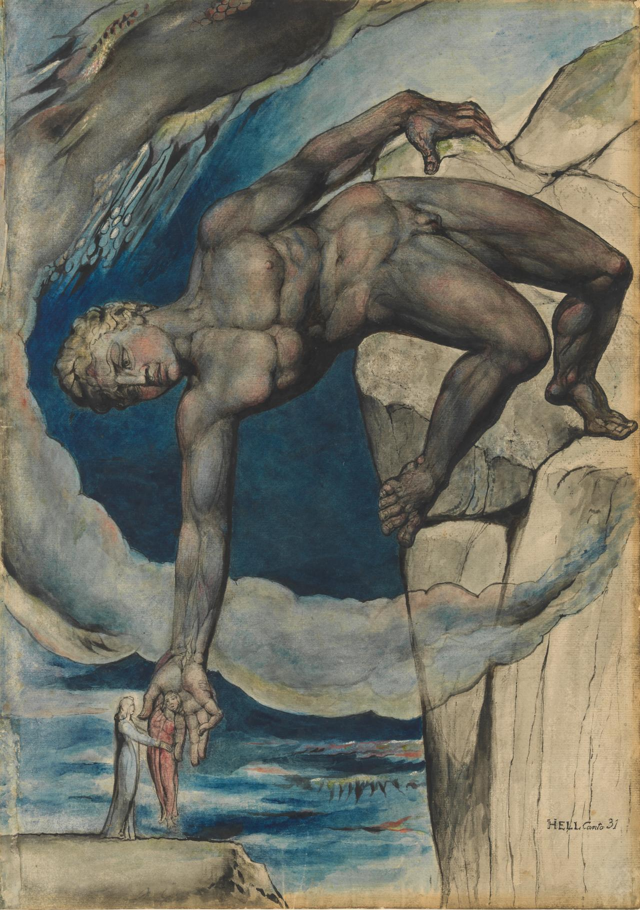 fig. 4 William Blake Antaeus setting down Dante and Virgil in the Last Circle of Hell  (Inferno XXXI, 112–43) Illustrations for The Divine Comedy by Dante Alighieri, 1824–27 pen and ink and watercolour over pencil and black chalk, with sponging and scratching out 52.6 x 37.4 cm  Butlin 812.63; Butlin & Gott 27 National Gallery of Victoria, Melbourne Felton Bequest, 1920 (1012-3)  Modelling to delineate musculature using initial tonal drawing followed by application of colour