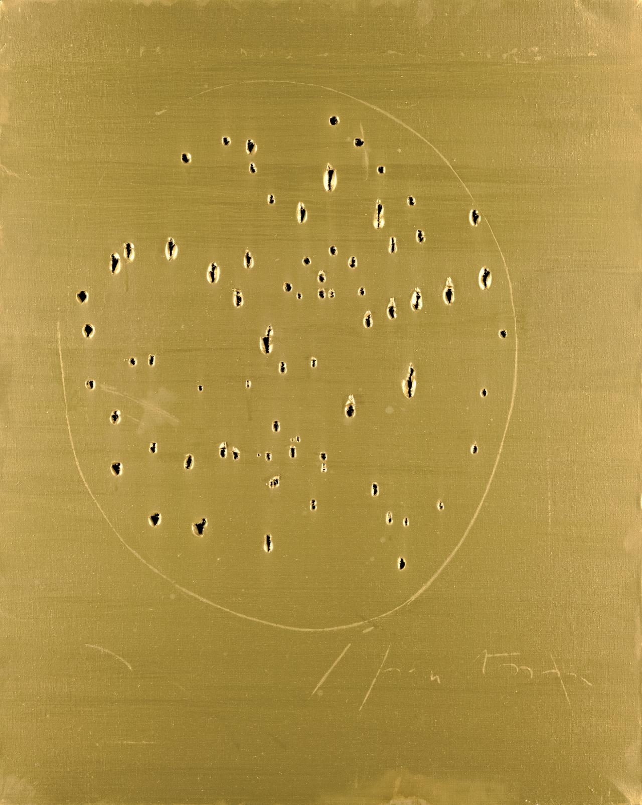 no form can be spatial the origins of lucio fontana s spatial in many respects this work conforms to the standard definition of painting consisting of a length of canvas covered in gold paint and fastened to a