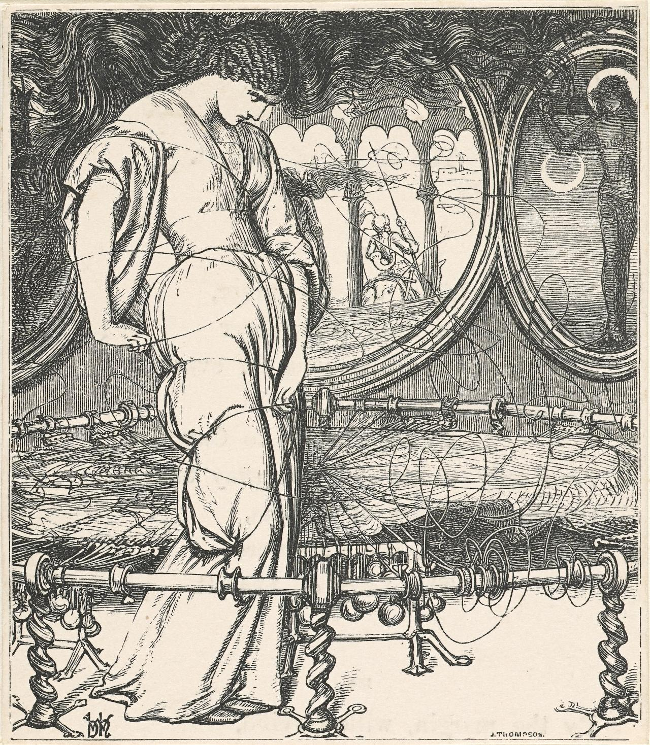 the breaking of the web william holman hunt s two early versions poem the lady of shalott fig 1 and his later engraving of the same subject fig 2 for edward moxon s famous 1857 edition of tennyson ibid pp
