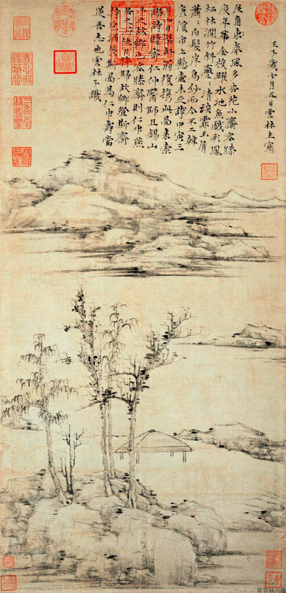 92f732659 Zhu Da concludes with a powerful vision of an apparent catastrophe (fig.  5d) Signature of artist in lower left corner: 'Bada Shanren' (half removed).