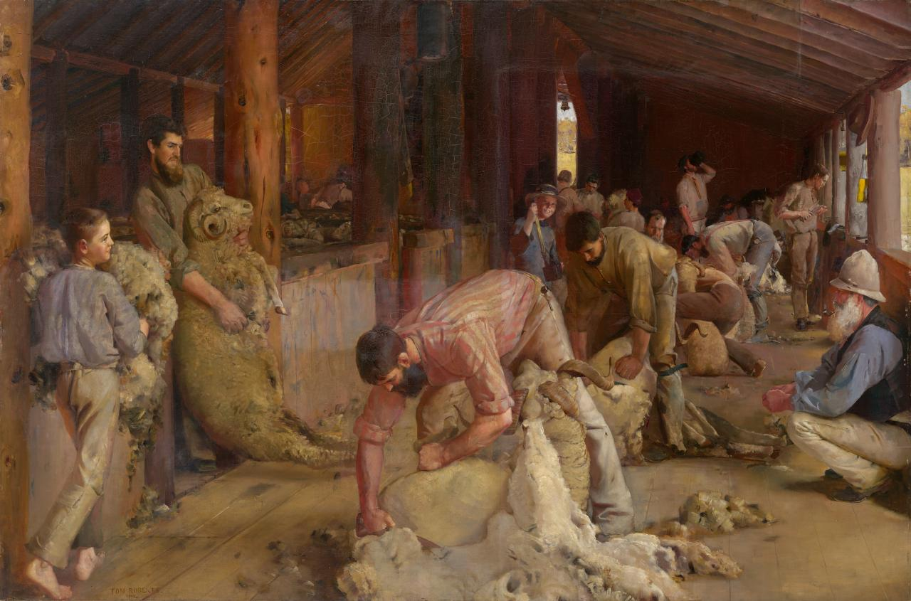 Tom roberts s shearing the rams the hidden tradition ngv for Australian mural artists