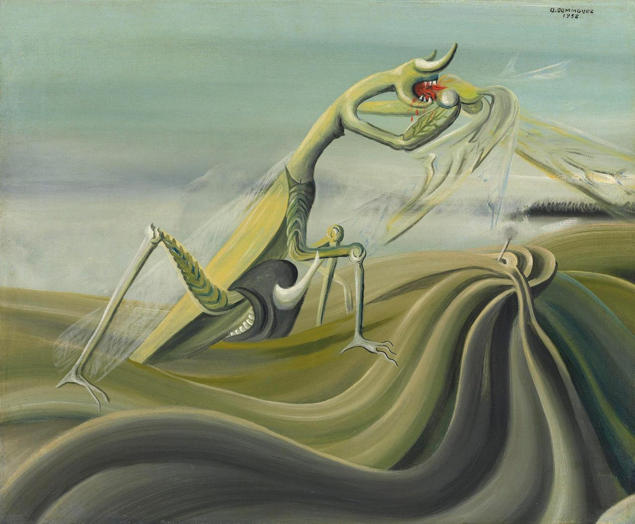 No doubt influenced by the centrality of the praying mantis in surrealist art and writing and its embodiment of freudian psychoanalytics the insect also