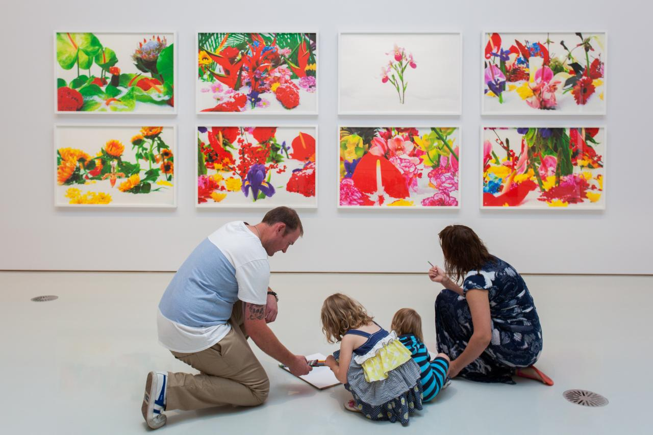 Family activities in the Contemporary Art & Design galleries at NGV International. Marc Quinn