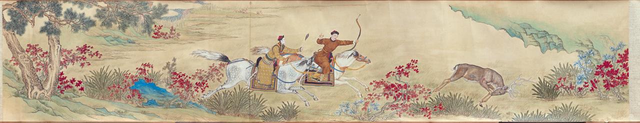 CHINESE Qianlong Emperor hunting deer Qing dynasty, Qianlong period ...