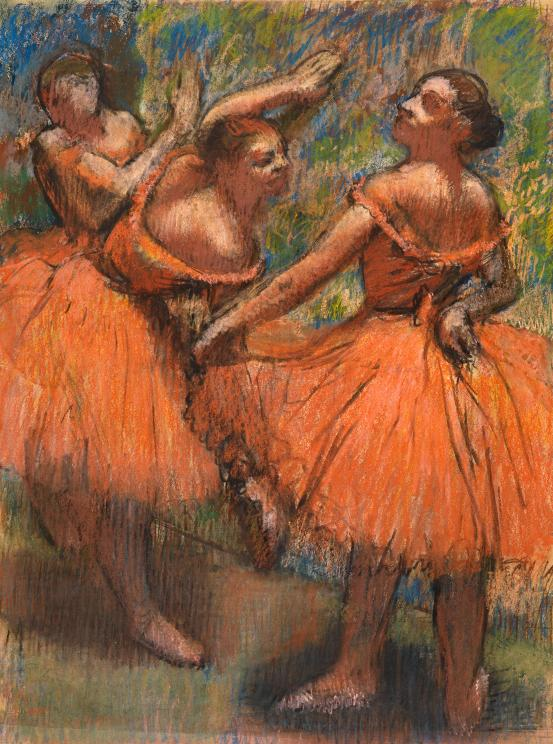 Edgar Degas                                               Group of dancers (red skirts) (Groupe de danseuses (Jupes rouges)) 1895–1900