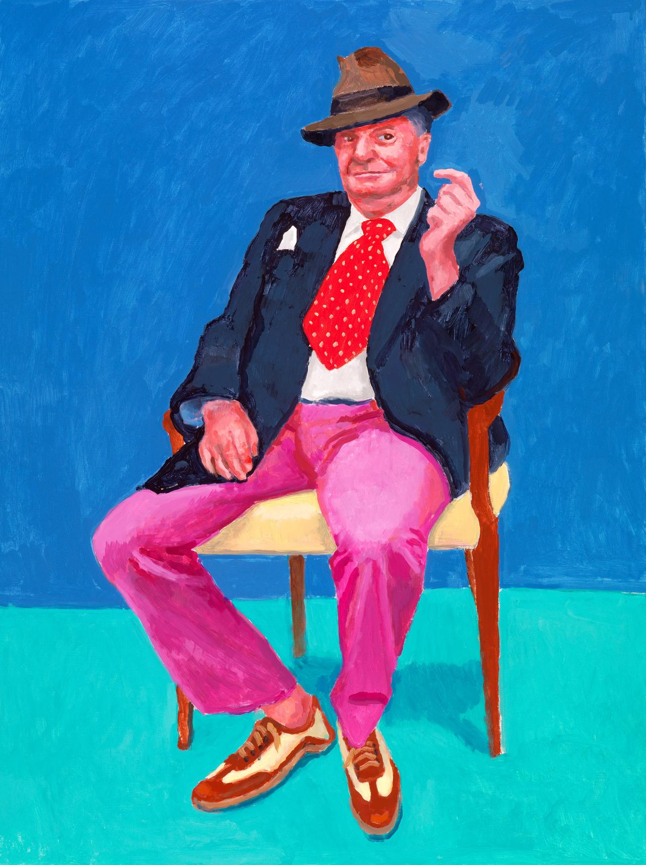 David Hockney<br/> English 1937–<br/> Barry Humphries, 26th, 27th, 28th March 2015<br/> acrylic on canvas<br/> 121.9 x 91.4 cm<br/> Collection of the artist<br/> © David Hockney<br/> Photo Credit: Richard Schmidt