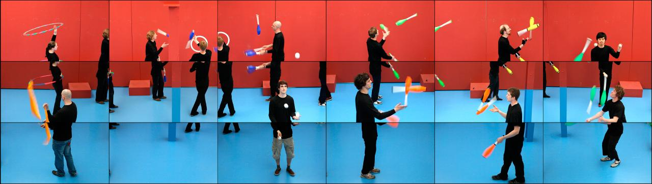 David Hockney<br/> English 1937–<br/> <em>The jugglers</em> 2012<br/> 18 digital videos synchronized and presented on 18 55-inch screens to comprise a single artwork<br/> 22 min, 205.7 x 728.0 cm (overall)<br/> Collection of the artist<br/> © David Hockney