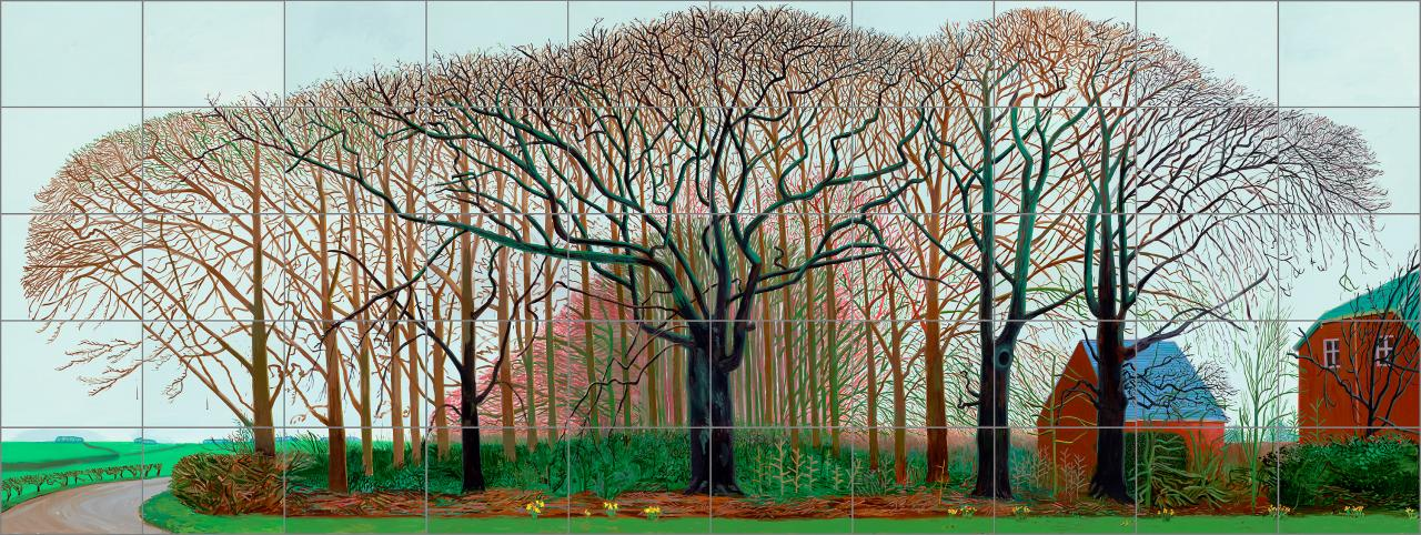 David Hockney<br/> English 1937&ndash;<br/> Bigger trees near Warter or/ou Peinture sur le<br/> motif pour le nouvel age post-photographique<br/> 2007<br/> oil on 50 canvases<br/> 459.0 x 1225.0 cm (overall)<br/> Tate, London<br/> Presented by the artist 2008 (T12887)<br/> &copy; David Hockney<br/> Photo Credit: Richard Schmidt