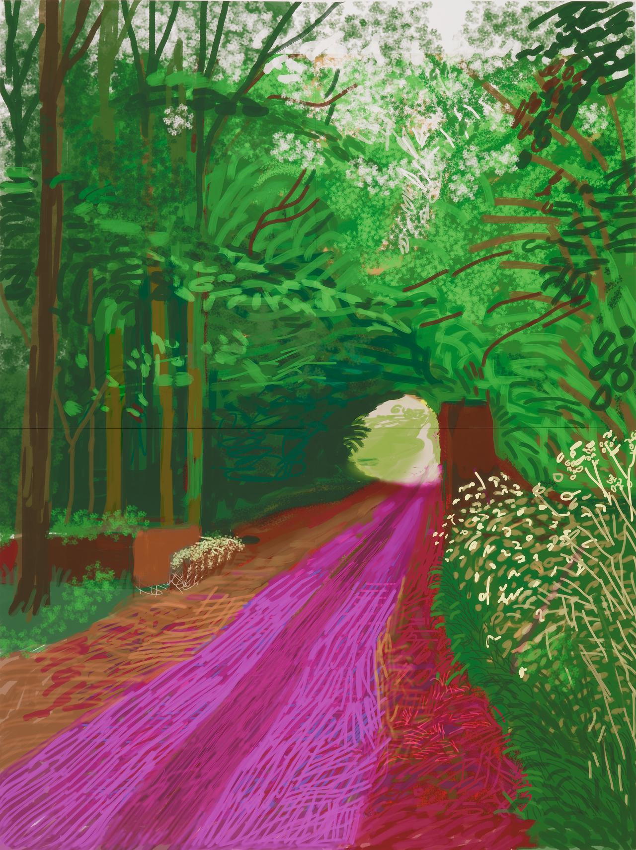 David Hockney<br/> English 1937–<br/> The arrival of spring in Woldgate, East Yorkshire in 2011 (twenty eleven) – 31 May, No. 1 (900)<br/>  iPad drawing printed on 6 sheets of paper mounted on Dibond<br/> 290.8 x 218.4 cm (overall)<br/> Collection of the artist<br/> © David Hockney<br/> Photo Credit: Richard Schmidt