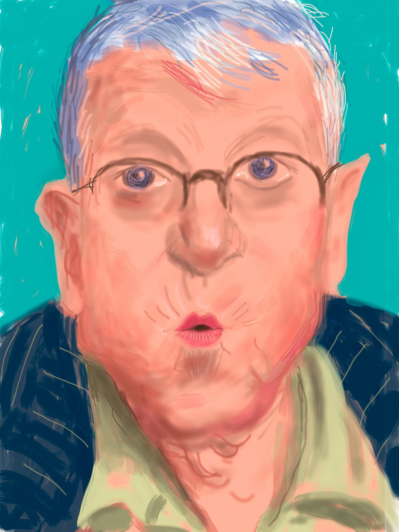 David Hockney<br/> English 1937–<br/> Self-portrait, 25 March 2012, No. 2 (1233)<br/> iPad drawing<br/> Collection of the artist<br/> © David Hockney