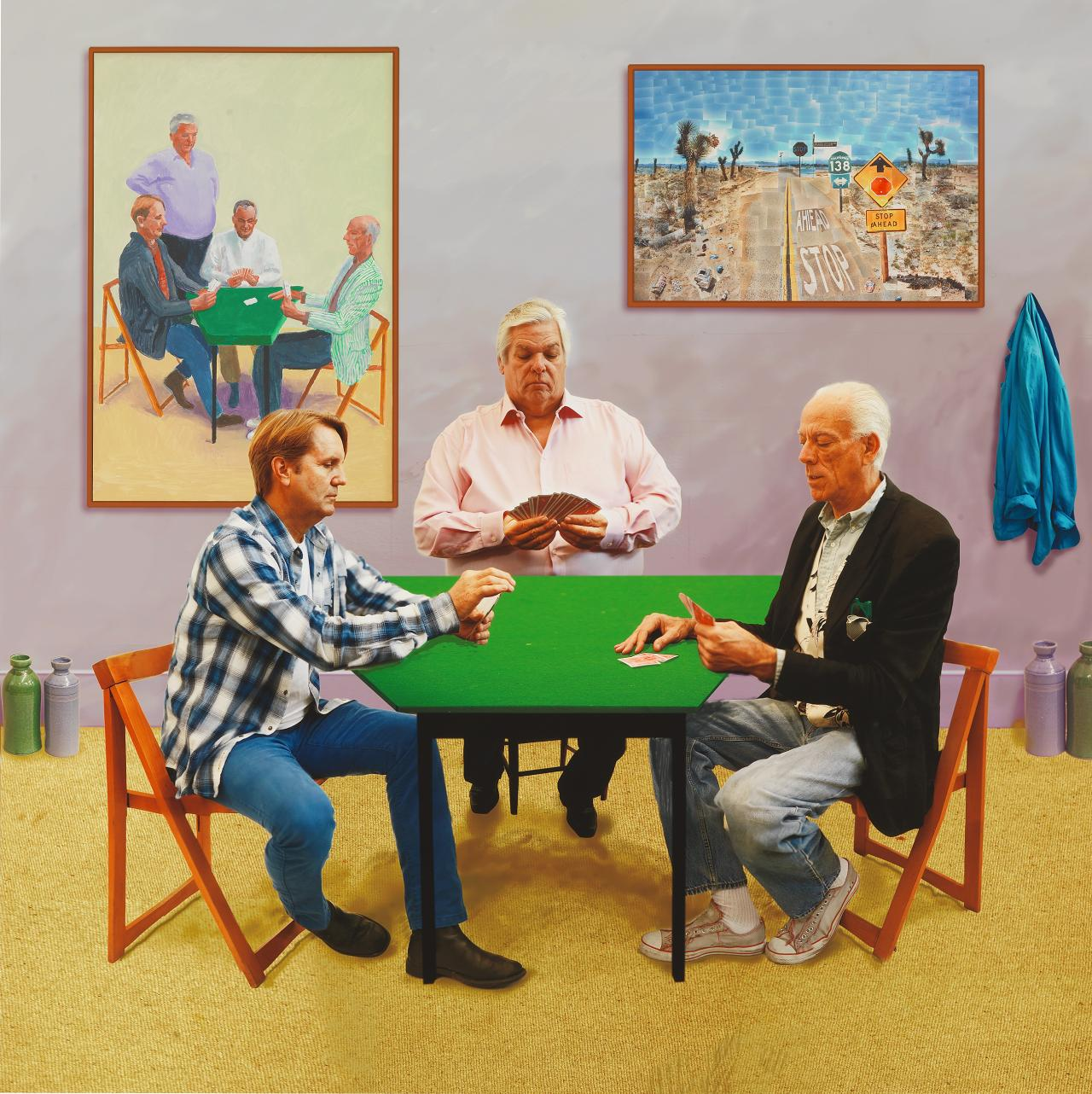 David Hockney<br/> English 1937–<br/> A bigger card players 2015<br/> photographic drawing printed on paper mounted on aluminium<br/> edition 1 of 12<br/> 177.2 x 177.2 cm<br/> Collection David Hockney Foundation<br/> © David Hockney<br/> Photo Credit: Richard Schmidt