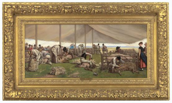 Eyre CROWE A sheep shearing match 1875