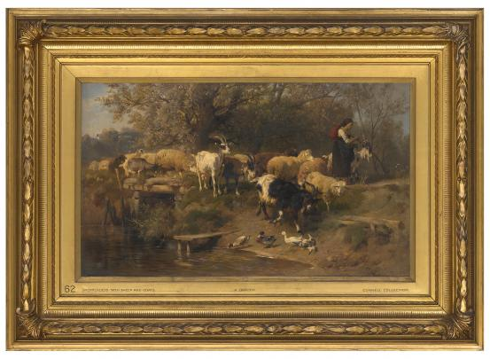 Anton BRAITH Shepherdess with sheep and goats 1874