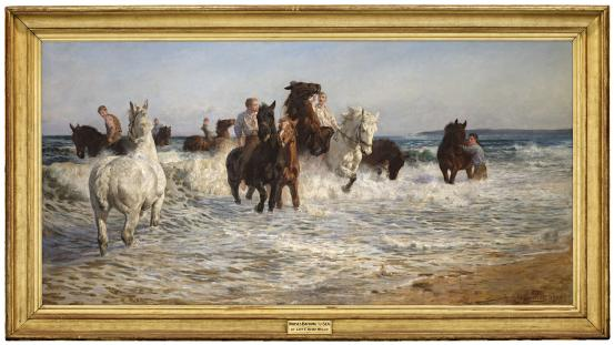Lucy KEMP-WELCH Horses bathing in the sea 1900