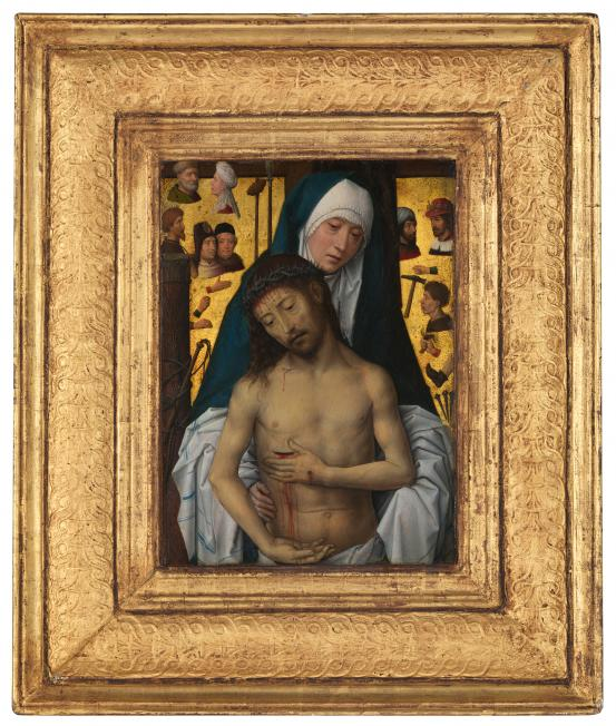 Hans MEMLING The Man of Sorrows in the arms of the Virgin (1475) {or (1479)}