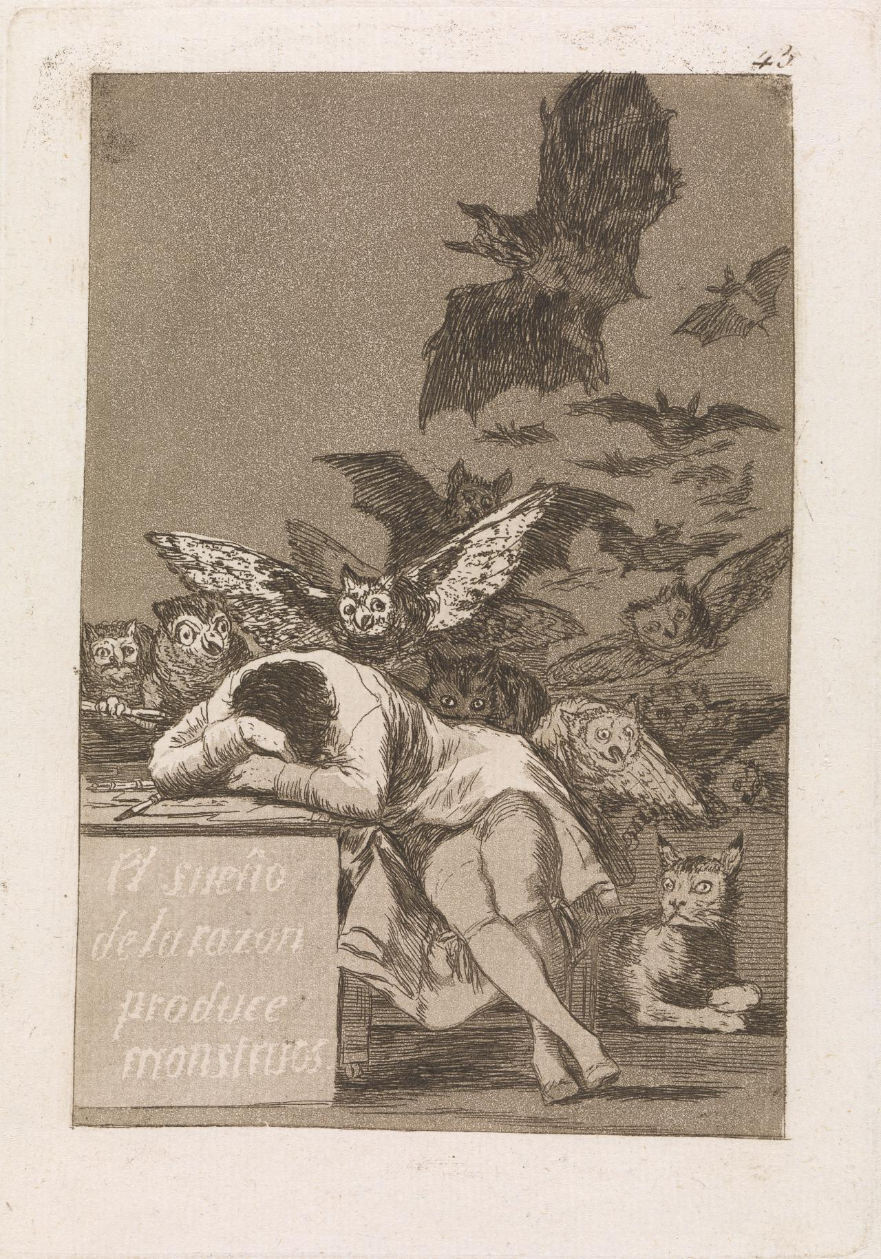 Francisco GOYA y Lucientes The sleep of reason produces monsters (1797-1798); 1799 {published}