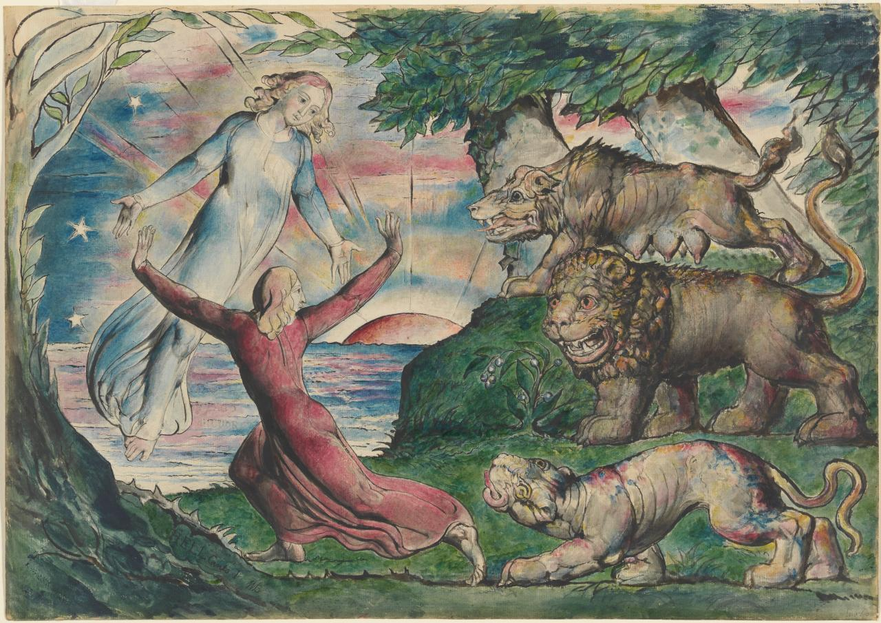William BLAKE Dante running from the Three Beasts (1824-1827)