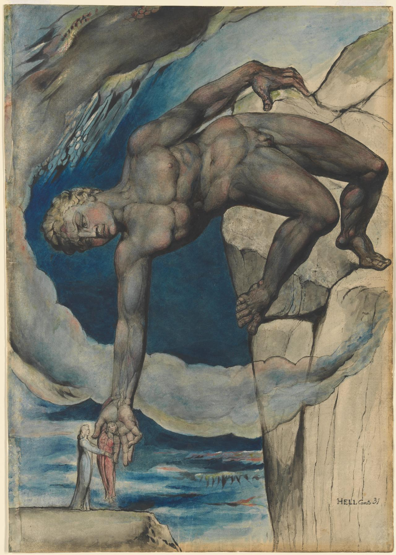 William BLAKE Antaeus setting down Dante and Virgil in the Last Circle of Hell (1824-1827)