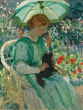 E. Phillips Fox  The green parasol 1912 oil on canvas    117.0 x 89.5 cm  National Gallery of Australia, Canberra Purchased 1946 (NGA 46.13)