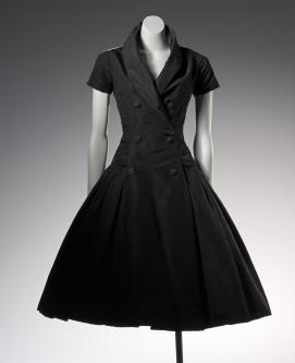 CHRISTIAN DIOR, Paris (couture house); Christian DIOR (designer) Zelie, cocktail dress 1954 {autumn-winter}    silk 122.0 cm (centre back) 32.0 cm (waist, flat)   National Gallery of Victoria, Melbourne Purchased NGV Foundation, 2006 2006.488