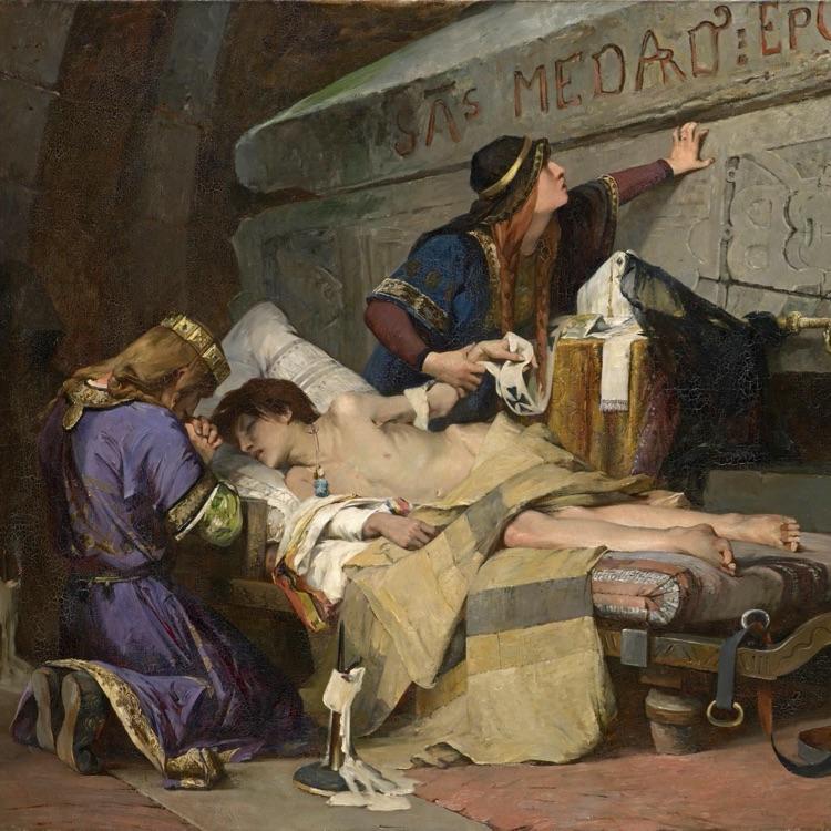 Albert MAIGNAN<br/> <em>The last moments of Chlodobert</em> (1880)