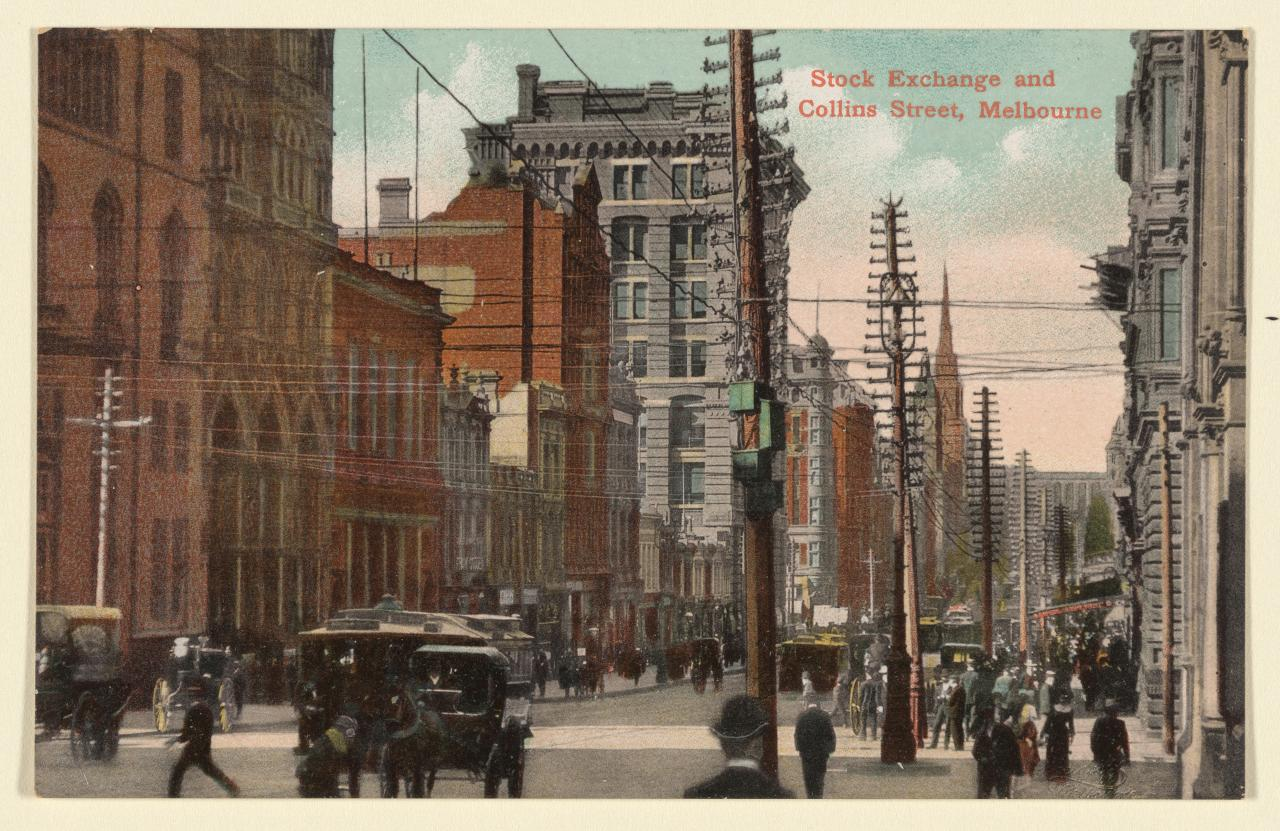Stock Exchange and Collins Street, Melbourne, postcard