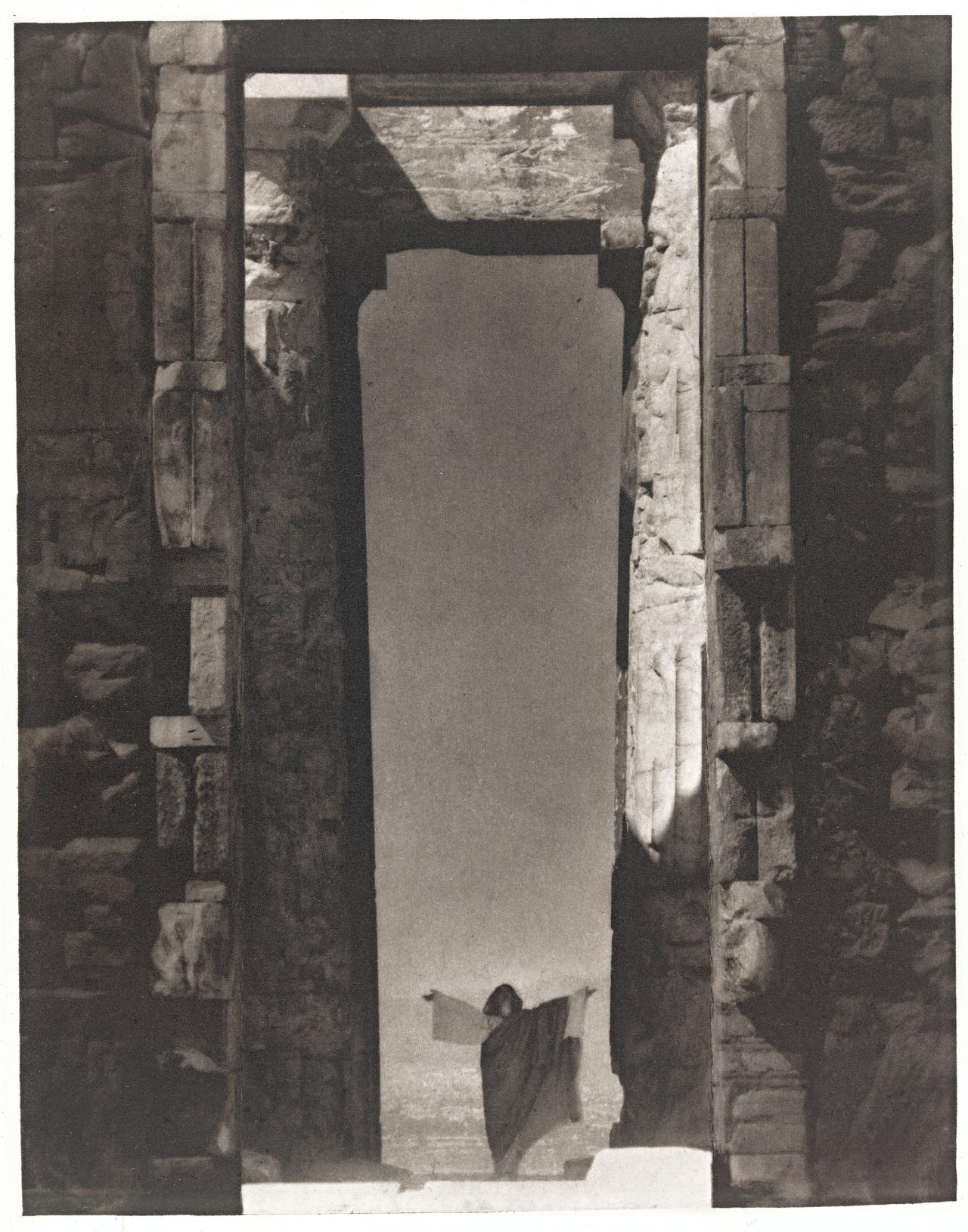 Isadora Duncan at the portal of the Parthenon