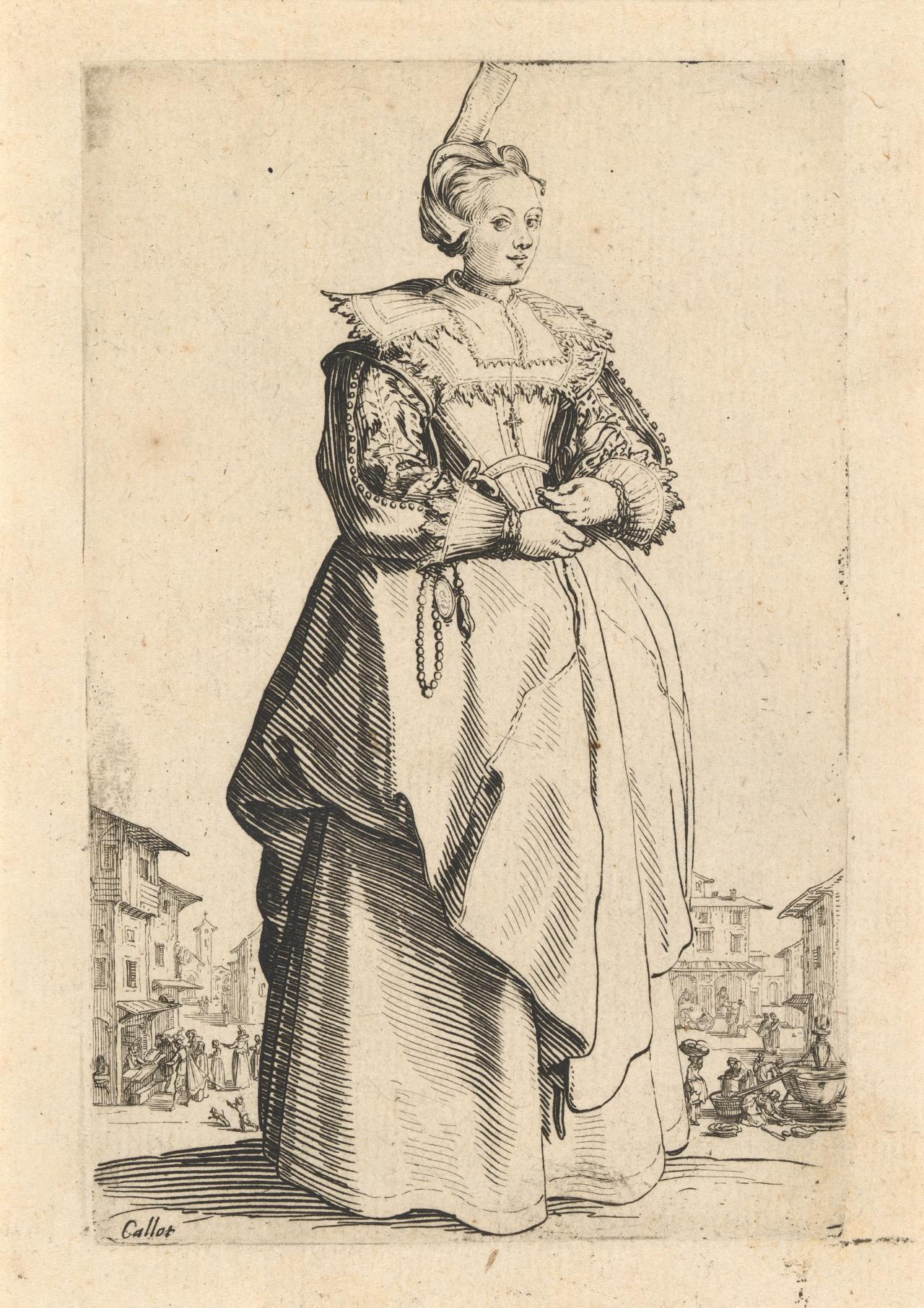 Noblewoman with a small hat lifted back