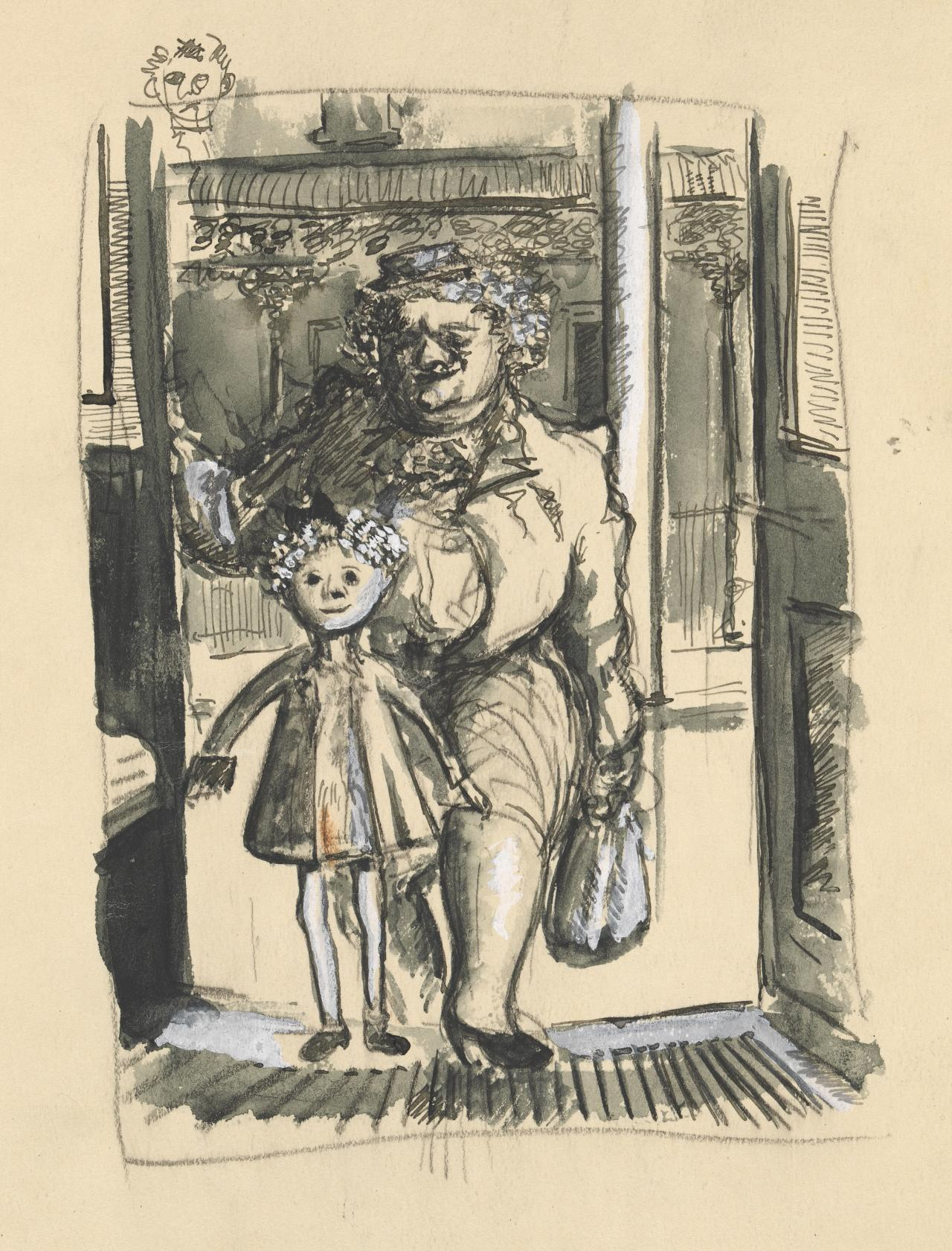 (Woman and child entering tram)