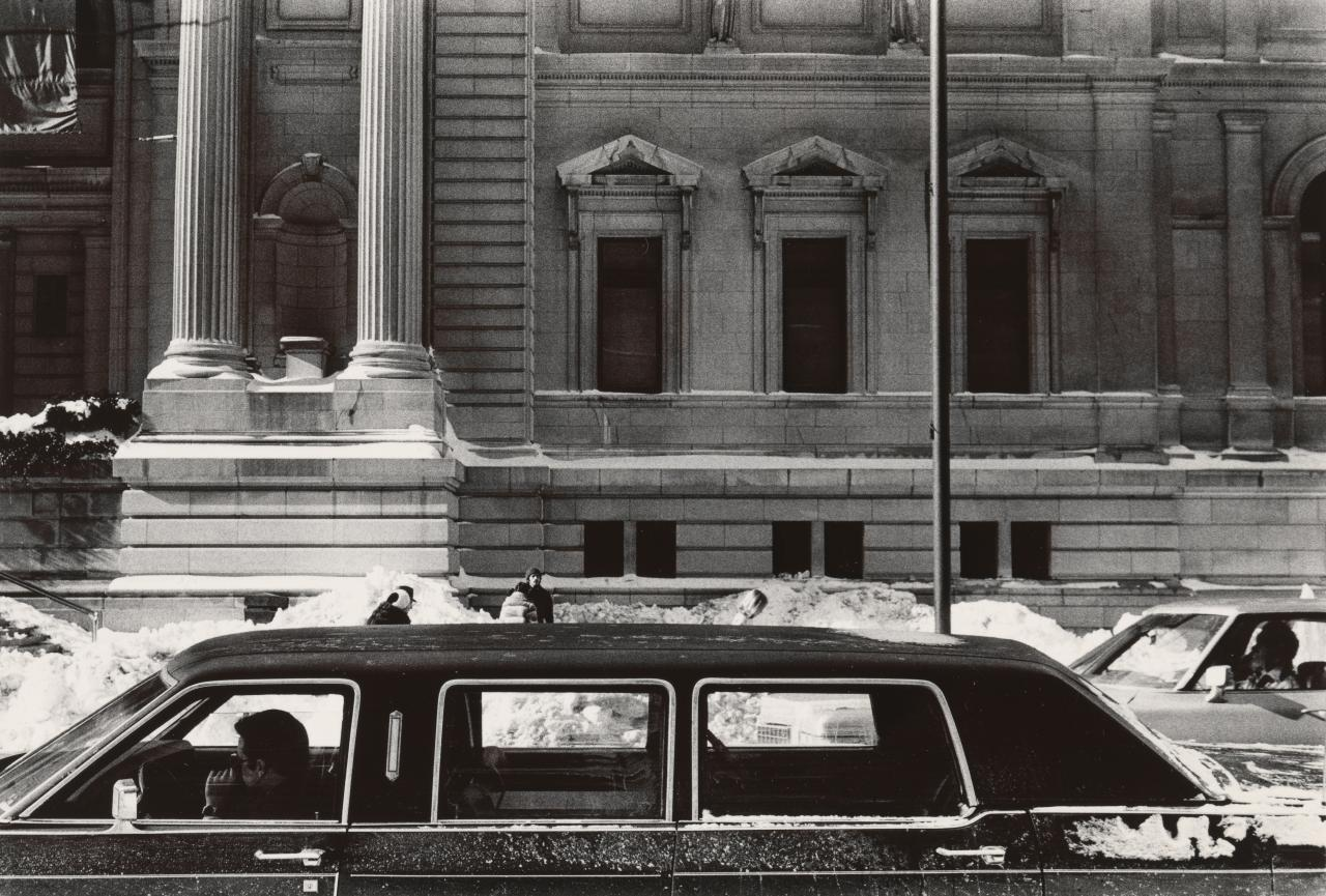 Man waiting in limousine, Metropolitan Museum, New York City, January