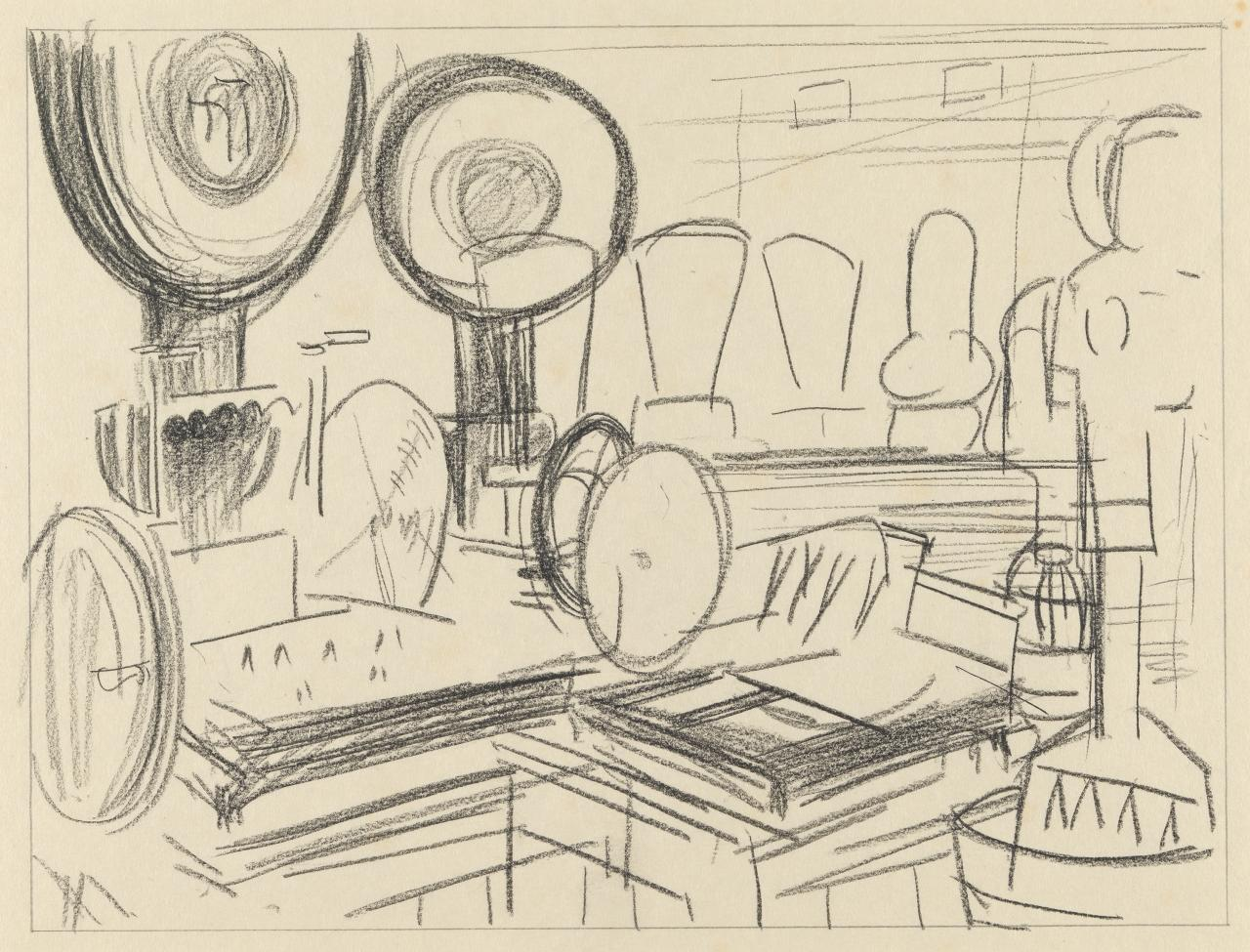 (Study for The slicing machine shop)