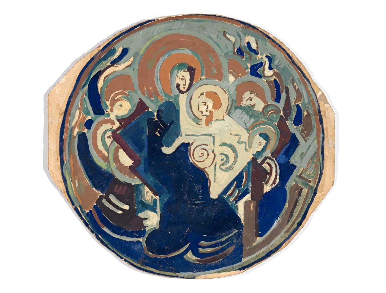 Virgin and child surrounded by angels, design for a platter