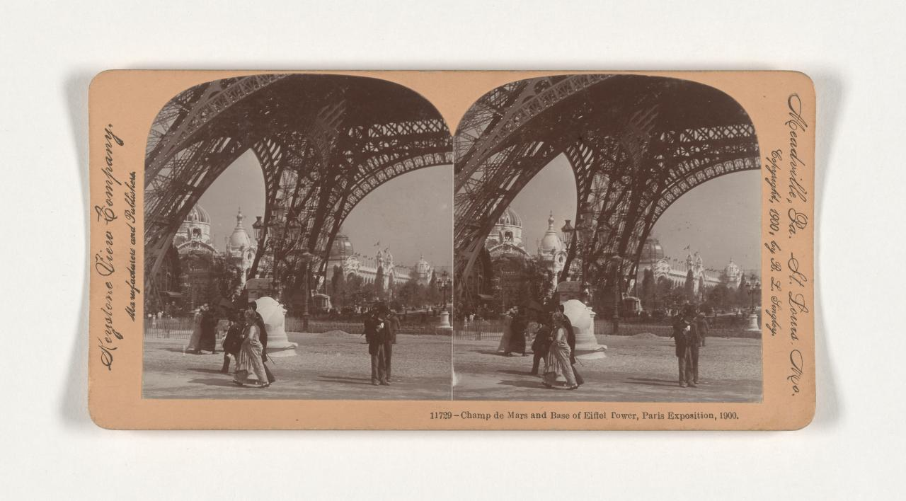 Universal Exposition, Paris. 11729. Champ de Mars and base of the Eiffel Tower, stereograph
