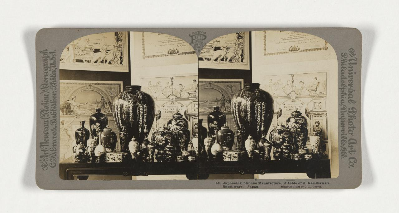 First International Exposition of Modern Decorative Arts, Turin. 49. Japanese Cloisonne manufacture. A table of Z. Namikawa's finest ware. Japan, stereograph
