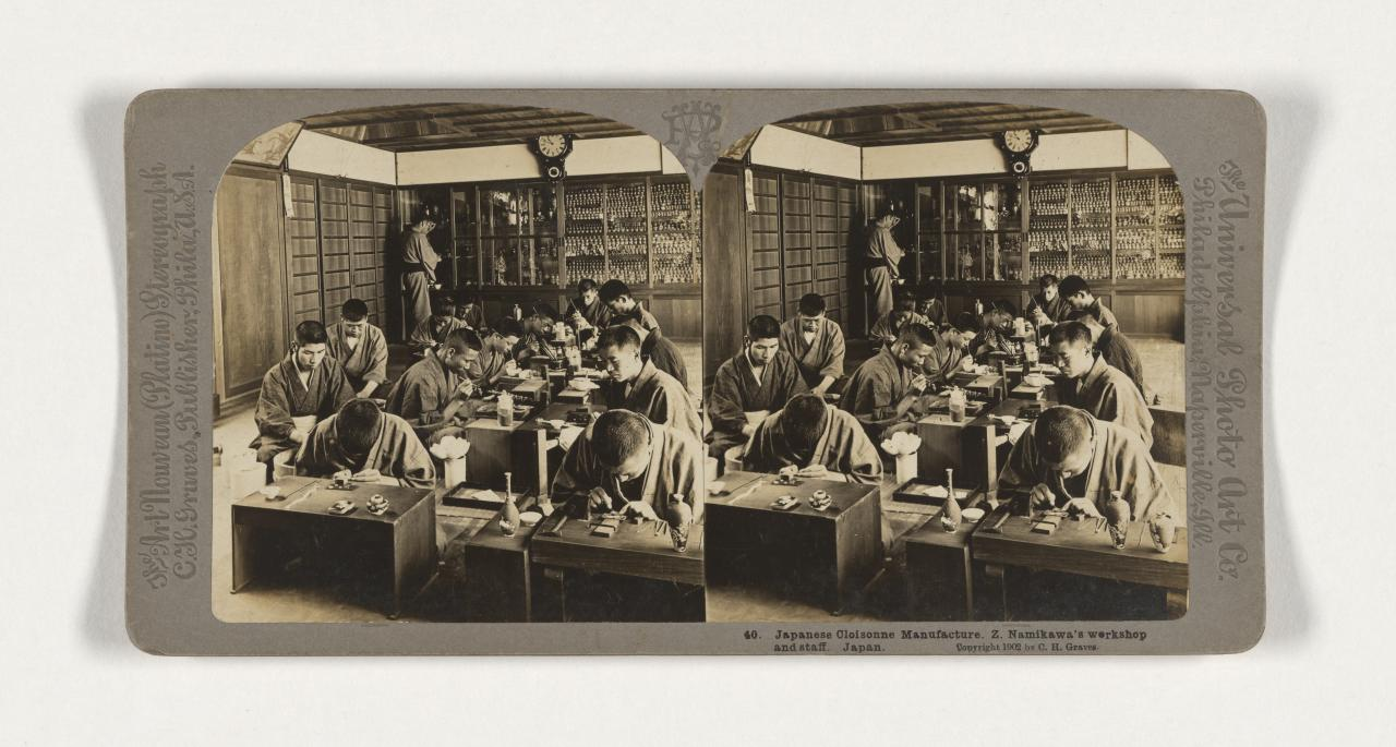 First International Exposition of Modern Decorative Arts, Turin. 40. Japanese Cloisonne manufacture. Z. Namikawa's workshop and staff. Japan, stereograph