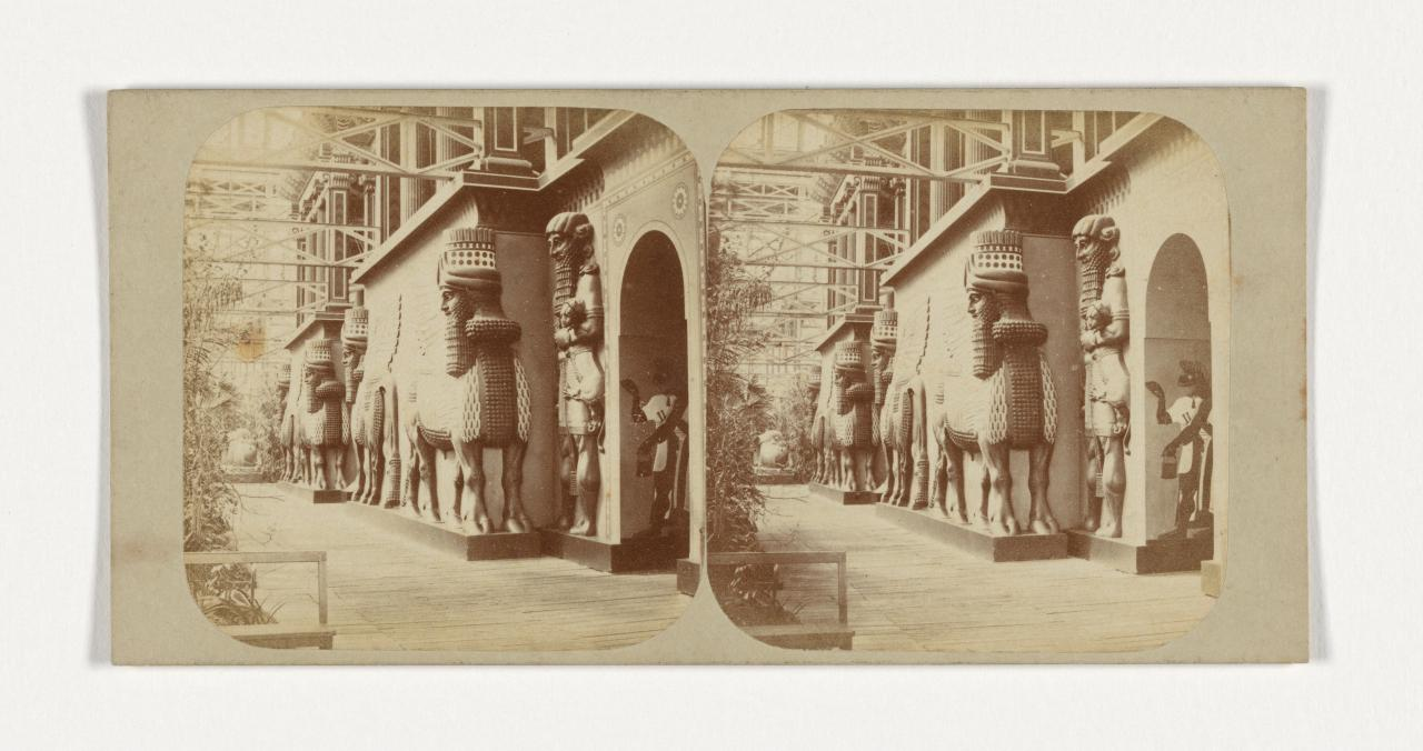 Crystal Palace, Sydenham, London. 18. The Assyrian Court, facade towards the nave, stereograph