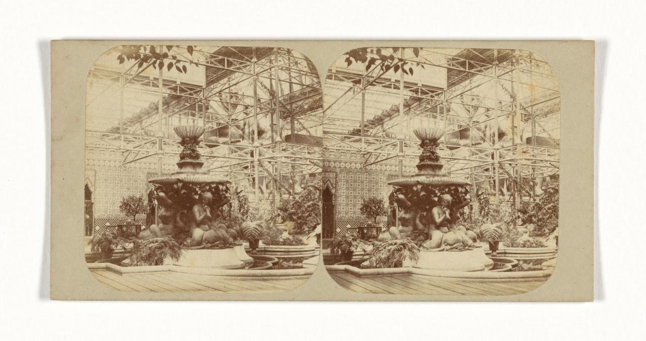 Crystal Palace, Sydenham, London. 7. The bronze fountain in the northern nave, stereograph