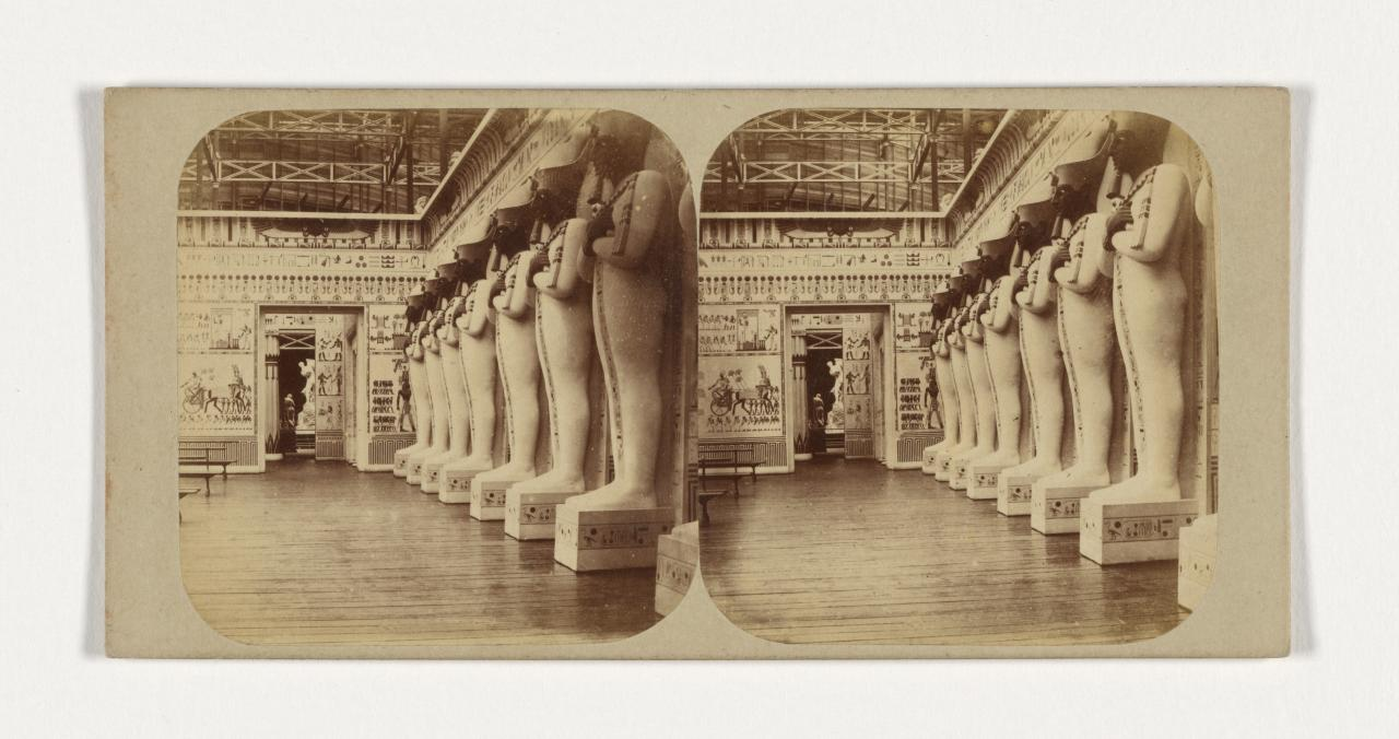 Crystal Palace, Sydenham, London. 4. The Egyptian Court. The facade of the Hall of Columns, stereograph